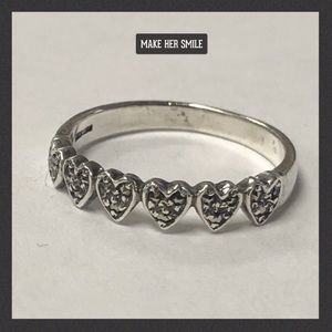 Sterling Silver Marcasite Ring Hearts Size 6.5